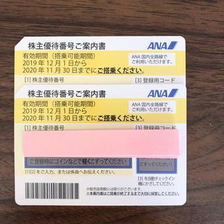 エーエヌエー(ゼンニッポンクウユ)(ANA(全日本空輸))のANA株主優待券 全日空2019年12月1日から2020年11月30日2枚セット(航空券)