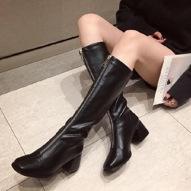 snidel(スナイデル)のフロントジッパー ロングブーツ レディースの靴/シューズ(ブーツ)の商品写真