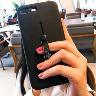 iPhoneケースXR ブラック 無地 スライドリング付き スタンド機能
