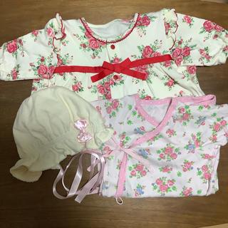 Nishiki Baby - 花柄の2ウェイオールと新生児肌着&帽子(帽子は未使用)