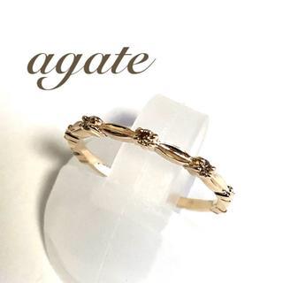 アガット(agete)のアガット agate  K10YG ダイヤ 0.04ct クラシカル リング(リング(指輪))