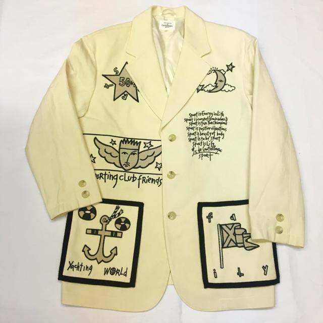 美品☆カステルバジャックスポーツ☆テーラードジャケット☆刺繍☆ホワイト系 メンズのジャケット/アウター(テーラードジャケット)の商品写真