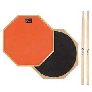 12インチ(オレンジ)Donner ドラム練習パッド トレーニングドラム ゴム製(その他)