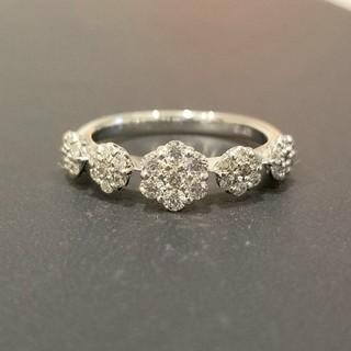 k18 WG  ダイヤ 0.5ct フラワーデザイン リング ダイヤモンド 指輪