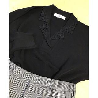 ロキエ(Lochie)の美品 ブラック アンティーク クラシカル レース ニット セーター(ニット/セーター)