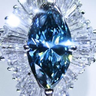 豪華大粒ブルー天然ダイヤモンド計2.40ctデザインリング (指輪)(リング(指輪))