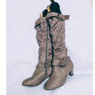 新品・未使用品 韓国レディースカジュアルブーツ グレー(ブーツ)