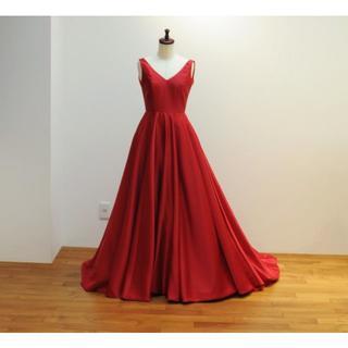 カラードレス 赤色(レッド)系 Vネックの Aラインドレス【X0106】