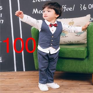 大人気♡新品4点セット♡100cm♡ひげ柄 フォーマル セットアップ♡ネイビー