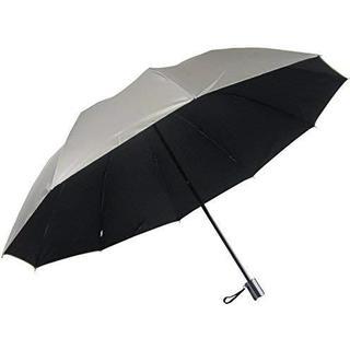 男性用の日傘 UV99% カット 2段式折りたたみ 表シルバー65折(黒)(日用品/生活雑貨)