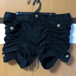 黒 ショートパンツ ショーツ 短パン 大きいサイズ ゴールド アクセント XL(ショートパンツ)