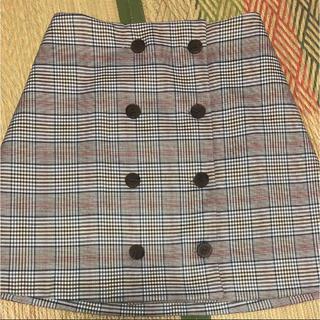 GRL - グレンチェック ボタン ミニスカート タイトスカート