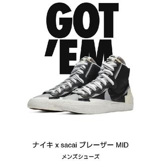 ナイキ(NIKE)の再値下げ! Sacai × Nike Blazer Black(スニーカー)