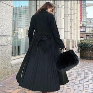 リエンダ(rienda)のrienda リエンダ プリーツコンビロングCT ブラック 黒 S(ロングコート)