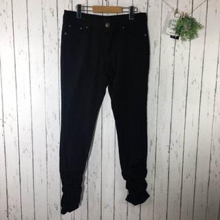 新品W76 大きいサイズ 裾シャーリングストレッチデニム ブラック(デニム/ジーンズ)