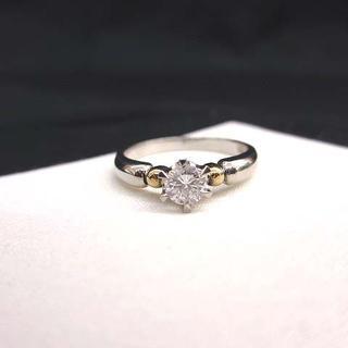 美品 Pt900/K18 1粒 ダイヤモンドリング 3.84g 0.301ct(リング(指輪))