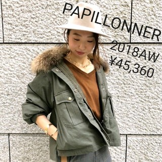 PAPILLONNER - PAPILLONNER パピヨネ★ラクーンファーダウンモッズコート 2018AW