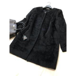 アナイ(ANAYI)の美品 ANAYI アルパカ コート ブラック アナイ 黒 シャギー ノーカラー(ロングコート)