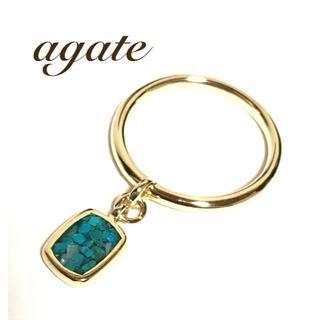 アガット(agete)のアガット agate ターコイズ シェル モザイク K10YG チャーム リング(リング(指輪))