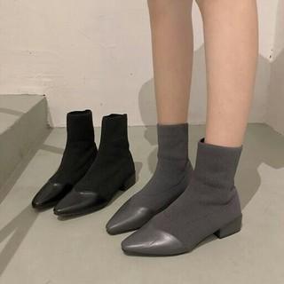 全二色  美脚 欧米 ファッション 新作 流行 ソックスブーツ(ブーツ)