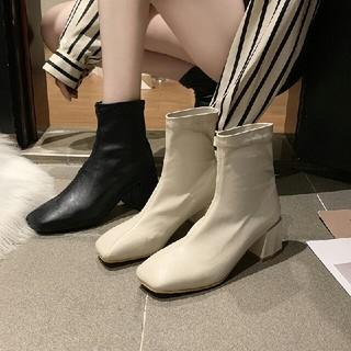 全二色  新作 ファッション スクエアアンクルブーツ 革靴  (ローファー/革靴)