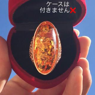 大振り イエロークリスタル 人工石 ローズゴールドリング 指輪(リング(指輪))