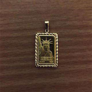 【送料無料】k18 k24 リバティコイン 自由の女神 枠 ペンダント5g