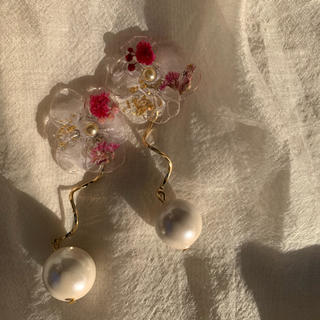 clear flower(pink red)(ピアス)