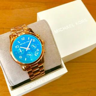 Michael Kors - 【美品!!】マイケルコース クロノグラフ腕時計 ブルーガラス クリスマス🎀