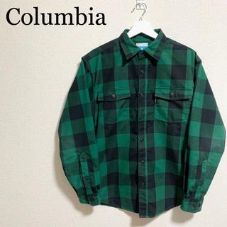 Columbia - コロンビア チェックシャツ メンズL 緑 黒  ボックスチェック柄