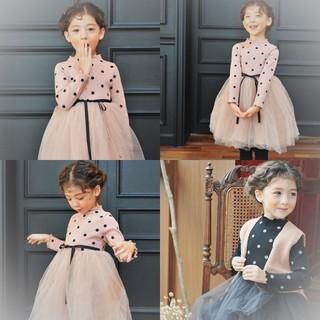 人気 女の子 ドット チュール ワンピース ドレス水玉 100cm ピンク(ワンピース)