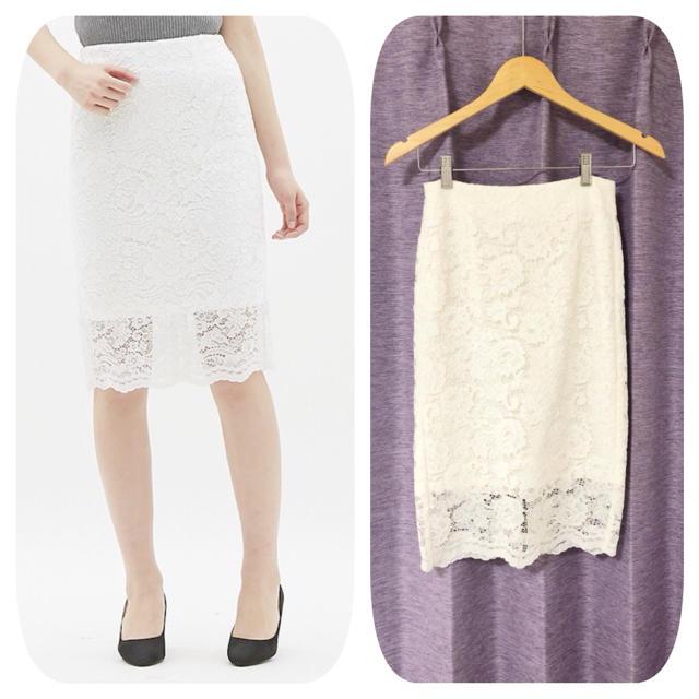 GU(ジーユー)のジーユー レースタイトスカート ホワイト美品未使用 レディースのスカート(ひざ丈スカート)の商品写真