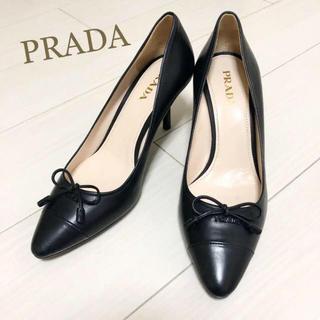 PRADA - 新品同様!プラダ 25.5 本革 ブラック ロゴ パンプス