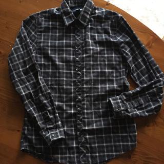 エイチアンドエム(H&M)のほぼ新品‼︎ H&M シンプル濃紺チェック サイズM(シャツ)