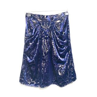 アナスイ(ANNA SUI)の【新品タグ付き】アナスイ ベロア 柄入り スカート 青×金(ひざ丈スカート)