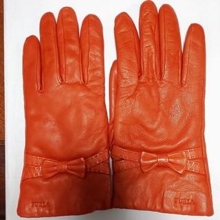フルラ(Furla)のフルラ★美品★オレンジ色リボンつき手袋(手袋)