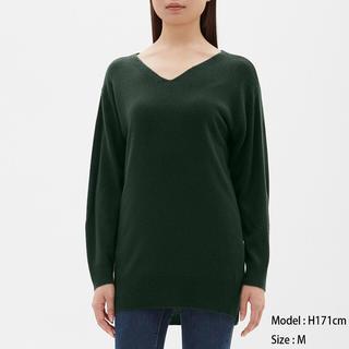 ジーユー(GU)のGU/ジーユー カシミヤタッチチュニック 長袖 ダークグリーン 深緑 XS(ニット/セーター)