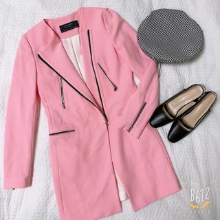 ザラ(ZARA)のzaraピンクジャケットコート(ノーカラージャケット)