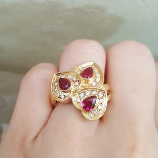 美品☆k18 ルビー ダイヤ ハートリング☆ボリュームリング 指輪(リング(指輪))