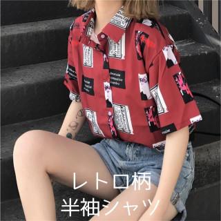 半袖 シャツ レトロ柄 レディース 夏 ブラウス 原宿系 韓国 オルチャン 赤