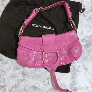 ドルチェアンドガッバーナ(DOLCE&GABBANA)のドルガバ ピンク クロコ型押し レザー ハンドバッグ ショルダーバッグ(ハンドバッグ)