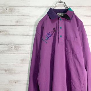【大人気】ZETY WALES ポロシャツ 長袖 紫 刺繍ロゴ リブカラー