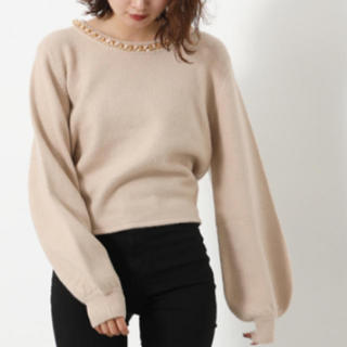 rienda - Chain N/C Knit TOP
