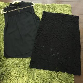 スコットクラブ(SCOT CLUB)のレース膝丈スカート 今期作 新品 (ひざ丈スカート)