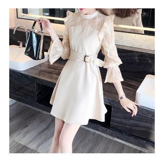 WILLSELECTION - 長袖レースドレスワンピース☆韓国ファッションフリルオフホワイト