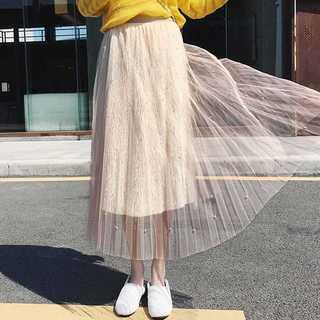 チュールスカート*大人女子スカート*ベージュ*新品(ひざ丈スカート)