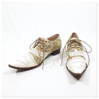 アルフレッドバニスター(alfredoBANNISTER)の美品■ アルフレッドバニスター レザーシューズ 35  革靴 ブーツ 白(ブーツ)