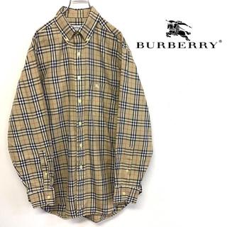 BURBERRY - 美品 90's Burberry ノヴァチェック ボタンダウンシャツ 刺繍ロゴ