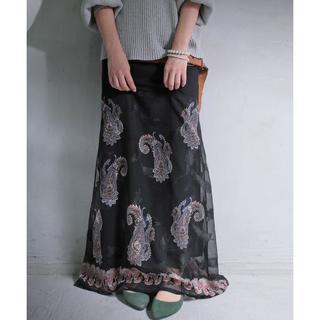 【antiqua】ペイズリー 柄 リブ ロング スカート ブラック【アンティカ】