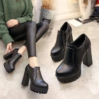 オルチャン ハイヒール 新作 ブーツ 革靴  ブラック (ローファー/革靴)